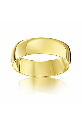 9kt Yellow Gold D-Shape Wedding Ring