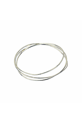 Wave Silver 3 Tier Bangle