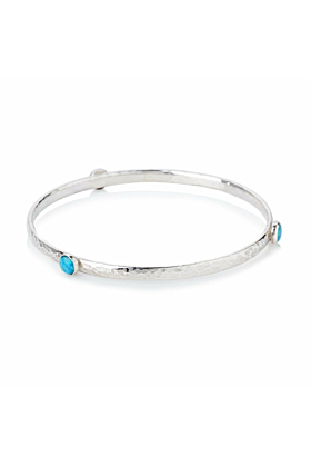 Sterling Silver Opal Bangle Set With 6 Mm Stones