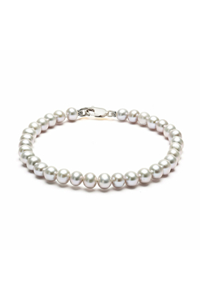 Classic Sterling Silver Grey Pearl Bracelet