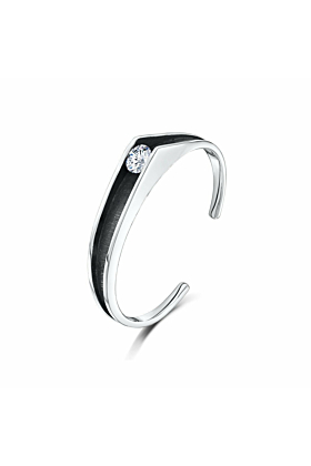 Sleek Silver & Cubic Zirconia Contrast Bangle | Becky Rowe