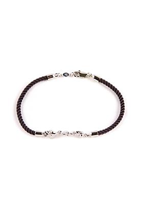 Rhodium Chattering Skull Stack Bracelet