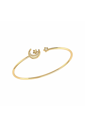 14kt Yellow Gold Plated Starkissed Crescent Cuff