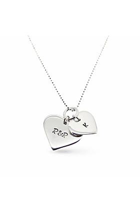 9kt White Gold Personalised Double Love Heart Necklace