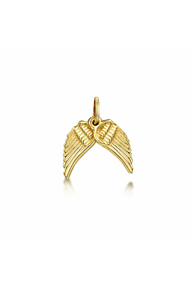 Yellow Gold Angel Wings Small Pendant Charm | Becky Rowe