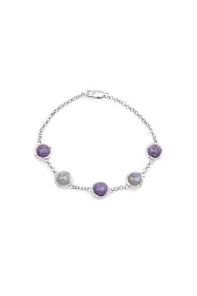 Rhodium Plated Silver Charoite & Labradorite Chain Bracelet