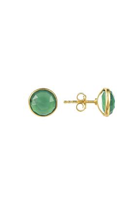 Medium Circle Stud Gold Green Onyx