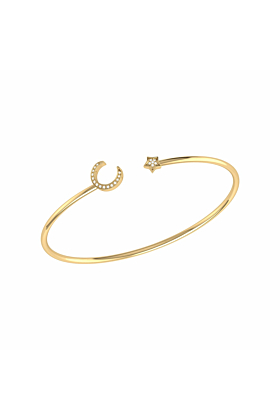 14kt Yellow Gold Plated Moonlit Star Cuff