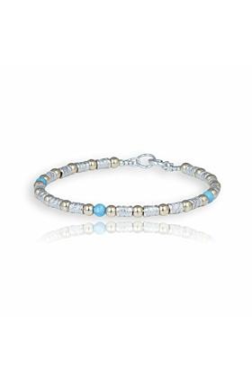 Gold & Sterling Silver Blue Opal Bracelet