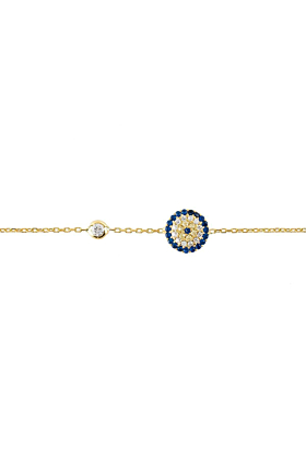 Yellow Gold Plated Silver Evil Eye Bracelet