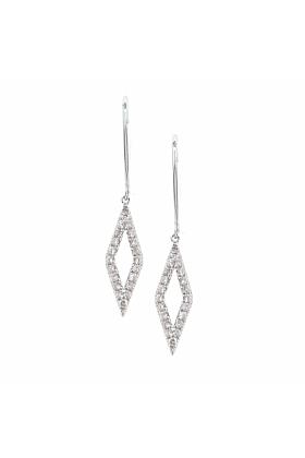 White Gold Diamond Drop Geo Earrings