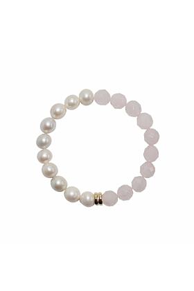 14kt Gold Orbis Pearl & Rose Quartz Bracelet