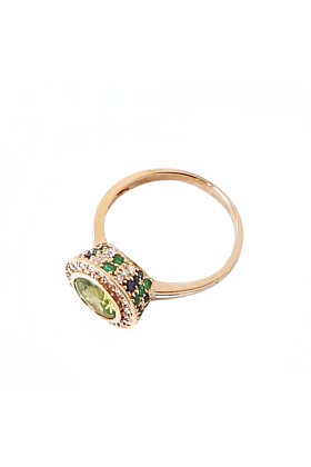 Peridot Sapphire Emerald & Diamond Ring