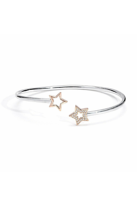 Silver, Rose Gold & Diamond Open Stars Bangle | Kaizarin