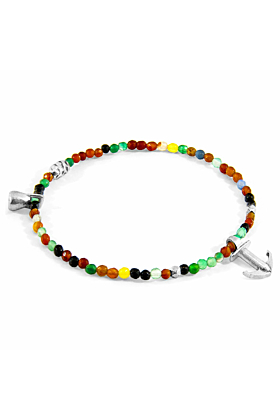 Multicoloured Agate Tropic Silver and Stone Bracelet