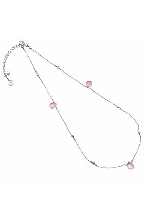 Cari Rose Quartz And Pearl Silver Necklace