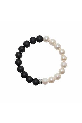 Sterling Silver Orbis White Pearl & Onyx Bracelet