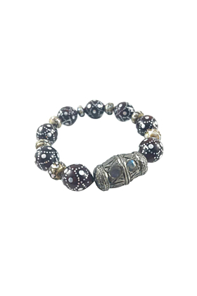 Rhodium Plated Silver Mosaic Inlay & Pearl Beaded Bracelet