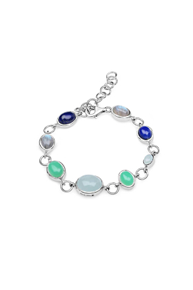 Rhodium Plated Silver Multi-Colour Party Bracelet Silver