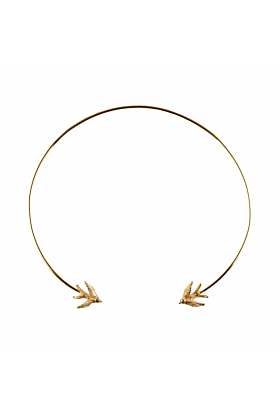 Gold Swallow torc necklace