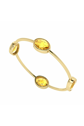 Four Stone Oval Citrine Gold Plated Bangle