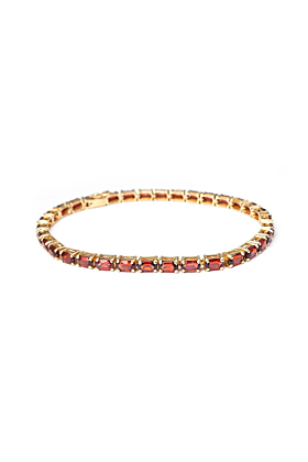 9kt Yellow Gold Oval Garnet Line Bracelet