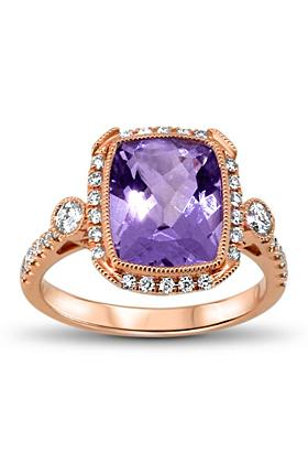 18kt Rose Gold Amethyst & Diamond Ring