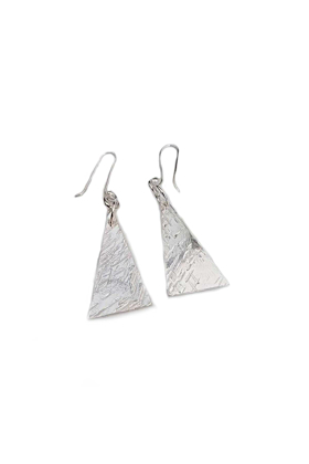 Silver Large Textured Triangle Earrings