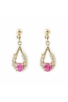 9kt Yellow Gold Tear Shaped Drop Earrings With Pink Ruby & Diamonds