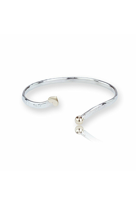 Gold & Sterling Silver Heart Bangle