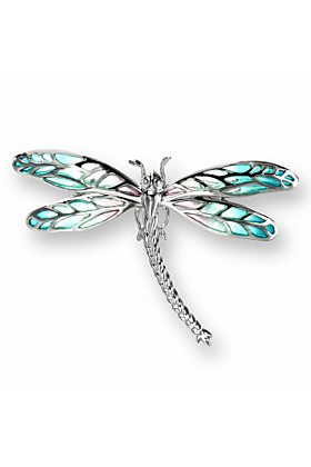 Silver Dragonfly Turquoise Brooch