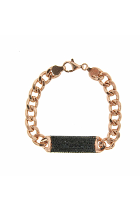 Rose Gold Plated Essential Black ID Bracelet