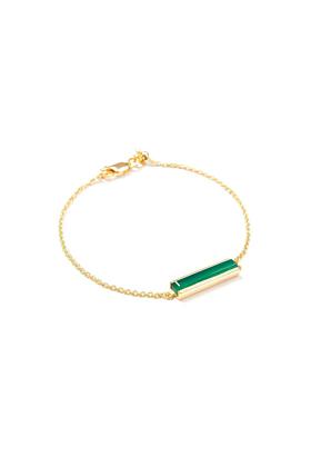 18kt Yellow Gold Vermeil Urban Bracelet With Green Onyx