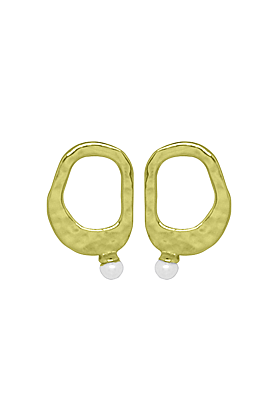 Gold & White Pearl Riveria Stud Earrings