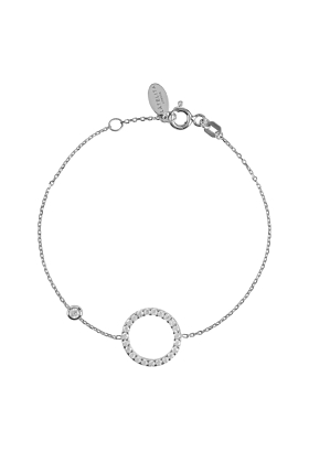 Rhodium Plated Sparkling Halo Circle Bracelet