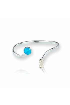 Gold & Sterling Silver Blue Opal Bangle