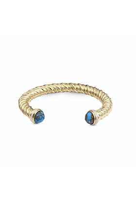 Yellow Gold Plated Summer Nights Turquoise Cuff