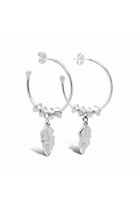 Sterling Silver Leaf Dangle Medium Hoop Earrings