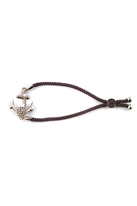 Rhodium Anchor Friendship Bracelet