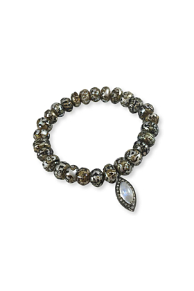 Rhodium Plated Silver Cracked Pearl & Moonstone Teardrop Bracelet