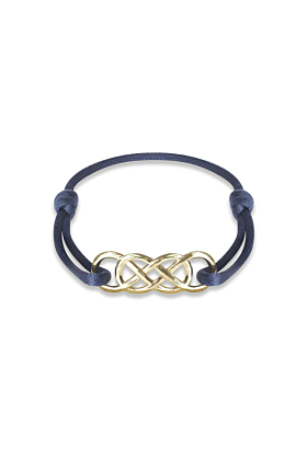 Yellow Gold Infinity Ibiza Bracelet With Navy Blue Ribbon | INFINITY by Victoria