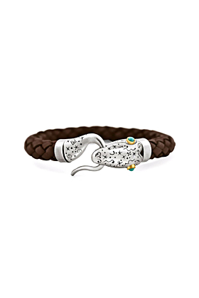 Leather Snake Bracelet With Silver, Gold, & Turquoise