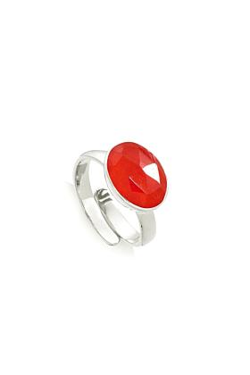 Atomic Maxi Bright Red Quartz Sterling Silver Adjustable Ring
