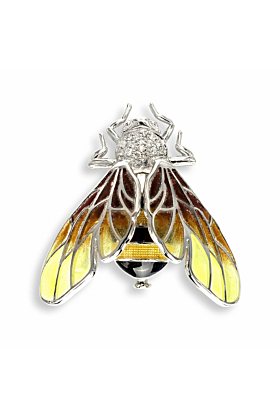 Silver Bee Yellow Brooch