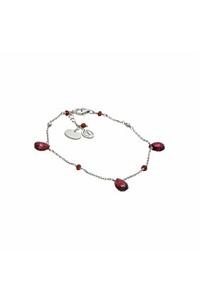 Cari Garnet Silver Bracelet