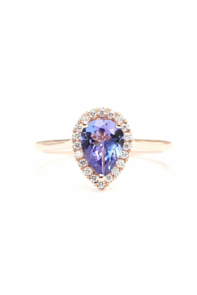 14kt Gold Natural Tanzanite Diamond Halo Engagement Ring