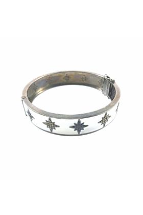 Rhodium Plated Silver Enamel Starburst Bangle
