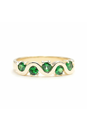 14kt Solid Wave Wedding Band With Green Tsavorite
