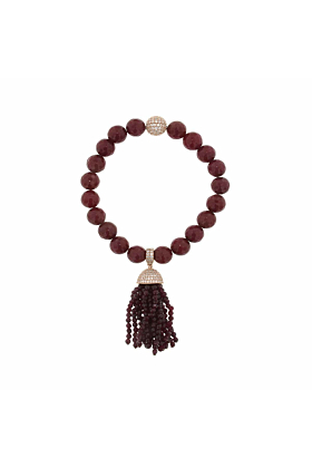 Rose Gold Plated Red Jade Tassel Bracelet