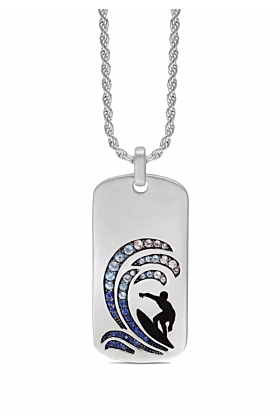 Rhodium Plated Sterling Silver Surfer's Paradise White Topaz & Blue Sapphire Stone Tag